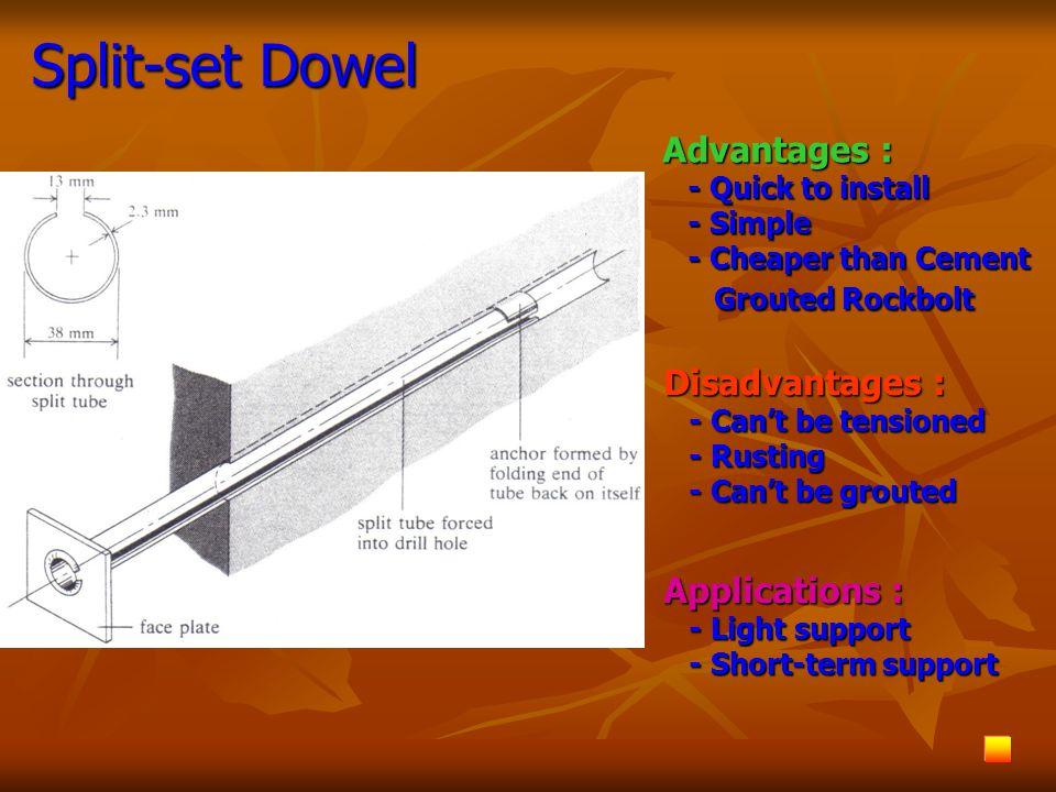 วิเคราะห์โดยใช้แนวคิดการส่งถ่าย แรงตามแนวโค้ง การหาความยาวของ rock bolts L = 1.4 + 0.184a L = 1.4 + 0.184a a = ความกว้างของช่องเปิดแนวราบ (m) และระยะห่าง ระหว่างสมอหาได้จาก joint density a = ความกว้างของช่องเปิดแนวราบ (m) และระยะห่าง ระหว่างสมอหาได้จาก joint density