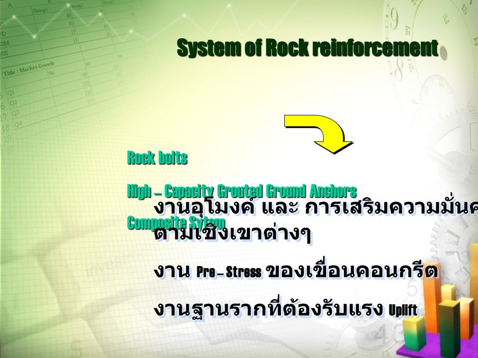 System of Rock reinforcement Rock bolts High – Capacity Grouted Ground Anchors Composite Sytem งานอุโมงค์ และ การเสริมความมั่นคง ตามเชิงเขาต่างๆ งาน P