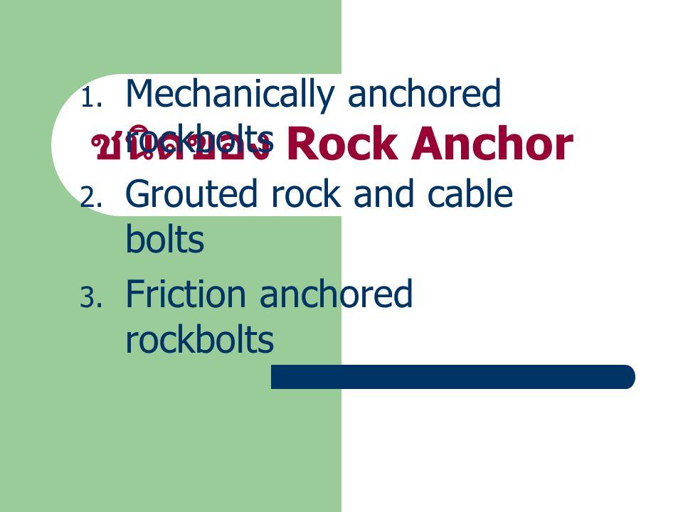 ชนิดของ Rock Anchor 1.Mechanically anchored rockbolts 2.