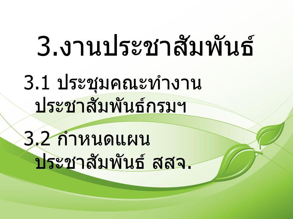 3.1 ประชุมคณะทำงาน ประชาสัมพันธ์กรมฯ 3.2 กำหนดแผน ประชาสัมพันธ์ สสจ.