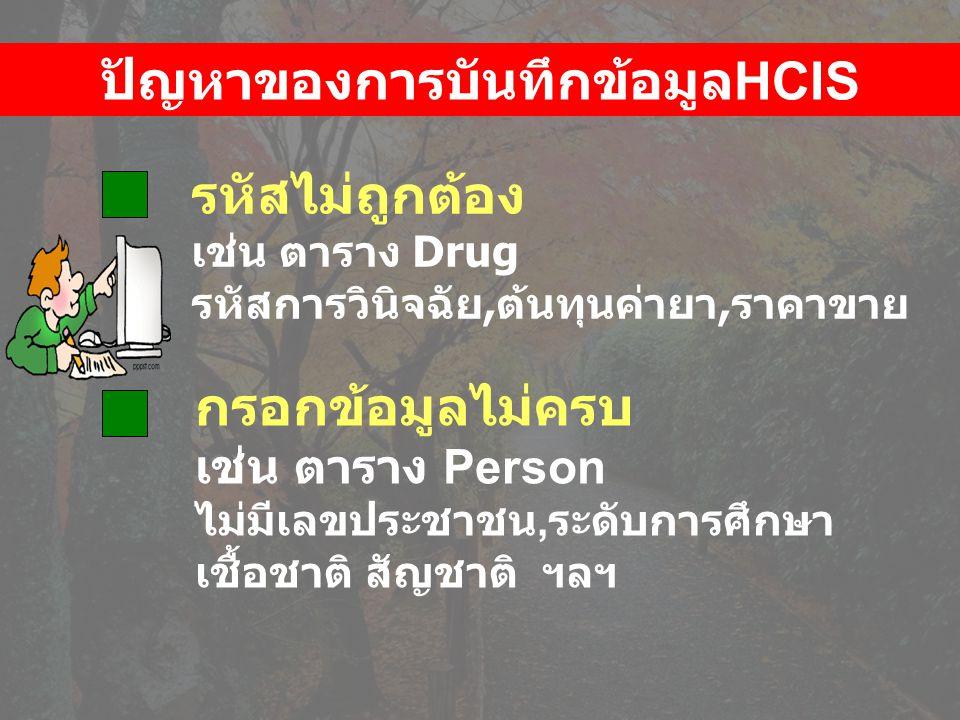 รหัสไม่ถูกต้อง เช่น ตาราง Drug รหัสการวินิจฉัย,ต้นทุนค่ายา,ราคาขาย กรอกข้อมูลไม่ครบ เช่น ตาราง Person ไม่มีเลขประชาชน, ระดับการศึกษา เชื้อชาติ สัญชาติ ฯลฯ ปัญหาของการบันทึกข้อมูล HCIS
