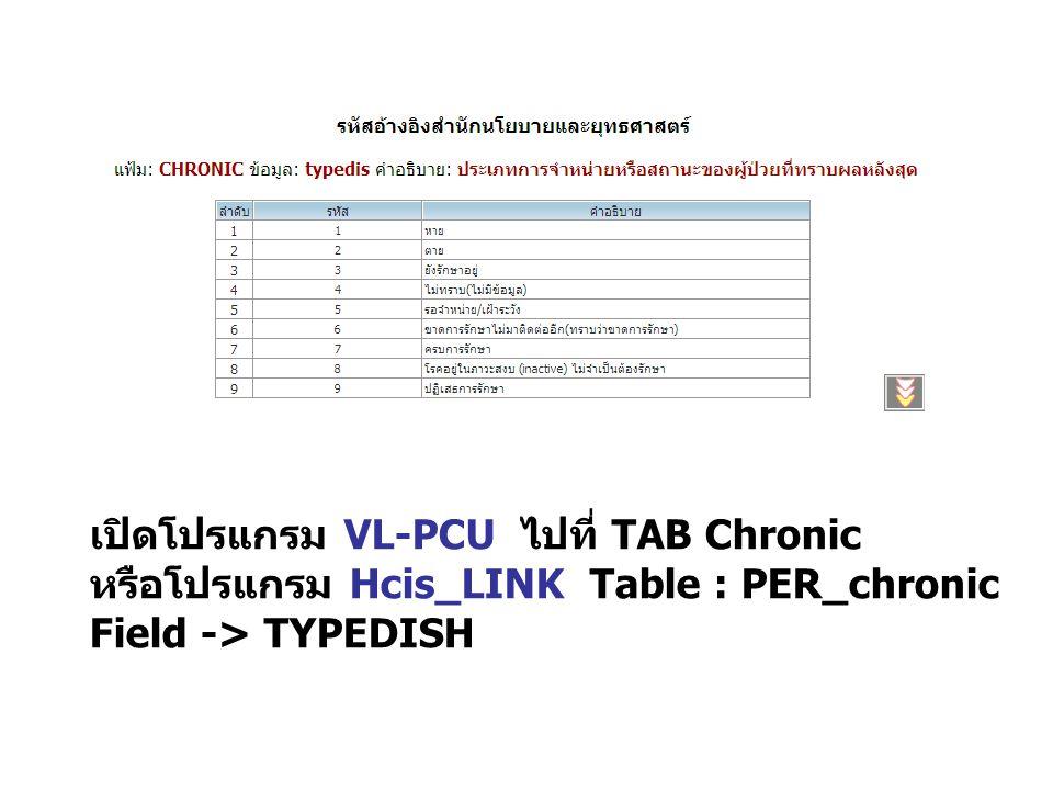 เปิดโปรแกรม VL-PCU ไปที่ TAB Chronic หรือโปรแกรม Hcis_LINK Table : PER_chronic Field -> TYPEDISH