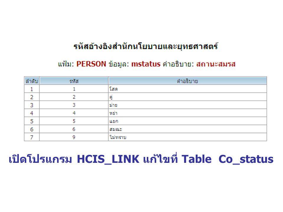 เปิดโปรแกรม HCIS_LINK แก้ไขที่ Table Co_status