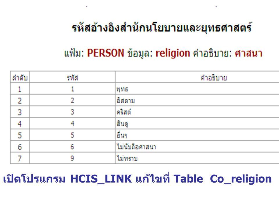 เปิดโปรแกรม HCIS_LINK แก้ไขที่ Table Co_religion