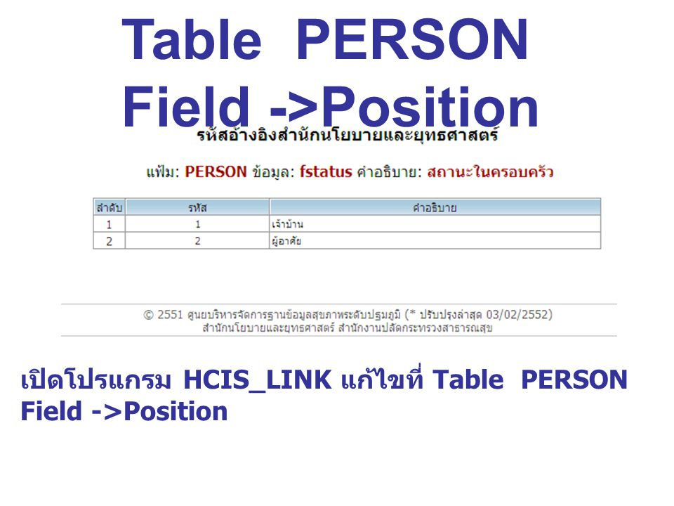 เปิดโปรแกรม HCIS_LINK แก้ไขที่ Table PERSON Field ->Position Table PERSON Field ->Position