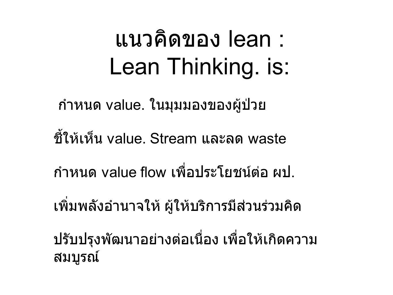แนวคิดของ lean : Lean Thinking. is: กำหนด value. ในมุมมองของผู้ป่วย ชี้ให้เห็น value. Stream และลด waste กำหนด value flow เพื่อประโยชน์ต่อ ผป. เพิ่มพล