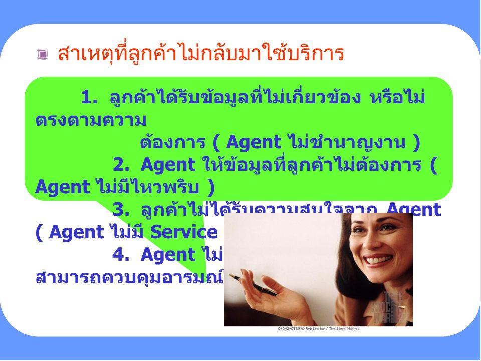 PERSONALITY 1. ลูกค้าได้รับข้อมูลที่ไม่เกี่ยวข้อง หรือไม่ ตรงตามความ ต้องการ ( Agent ไม่ชำนาญงาน ) 2. Agent ให้ข้อมูลที่ลูกค้าไม่ต้องการ ( Agent ไม่มี