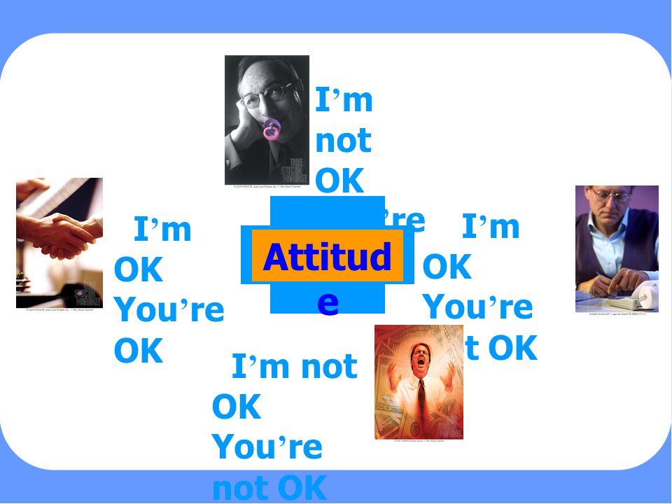 PERSONALITY Attitude I ' m not OK You ' re OK I ' m OK You ' re not OK I ' m not OK You ' re not OK I ' m OK You ' re OK Attitud e