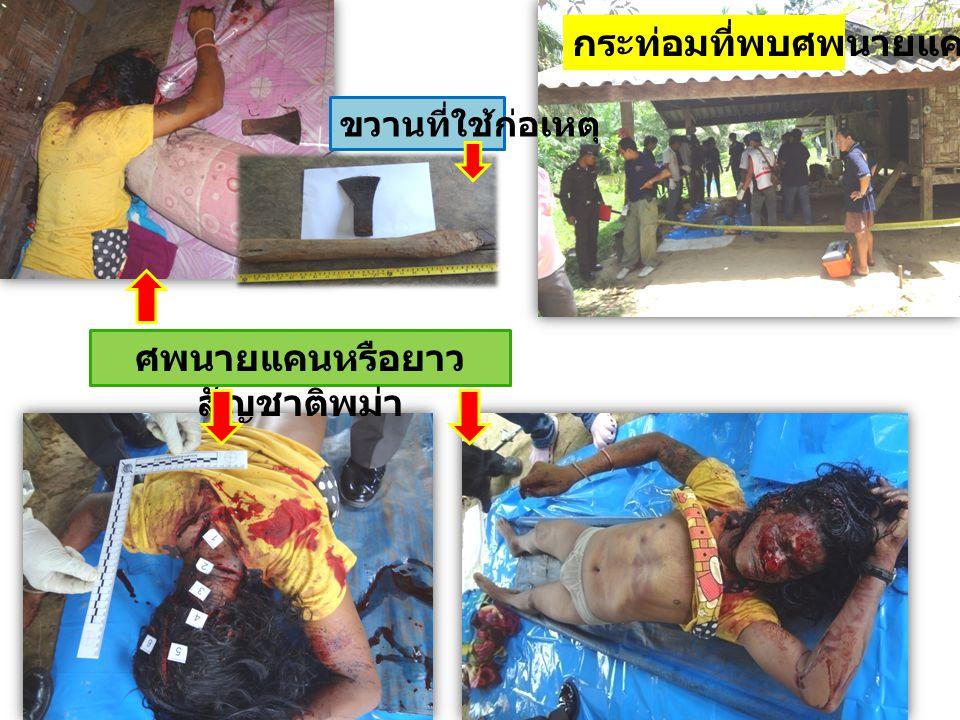 ศพนายแคนหรือยาว สัญชาติพม่า กระท่อมที่พบศพนายแคน ขวานที่ใช้ก่อเหตุ