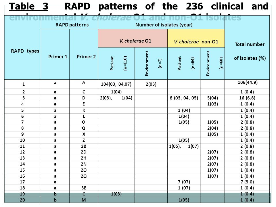 Table 3 RAPD patterns of the 236 clinical and environmental V.