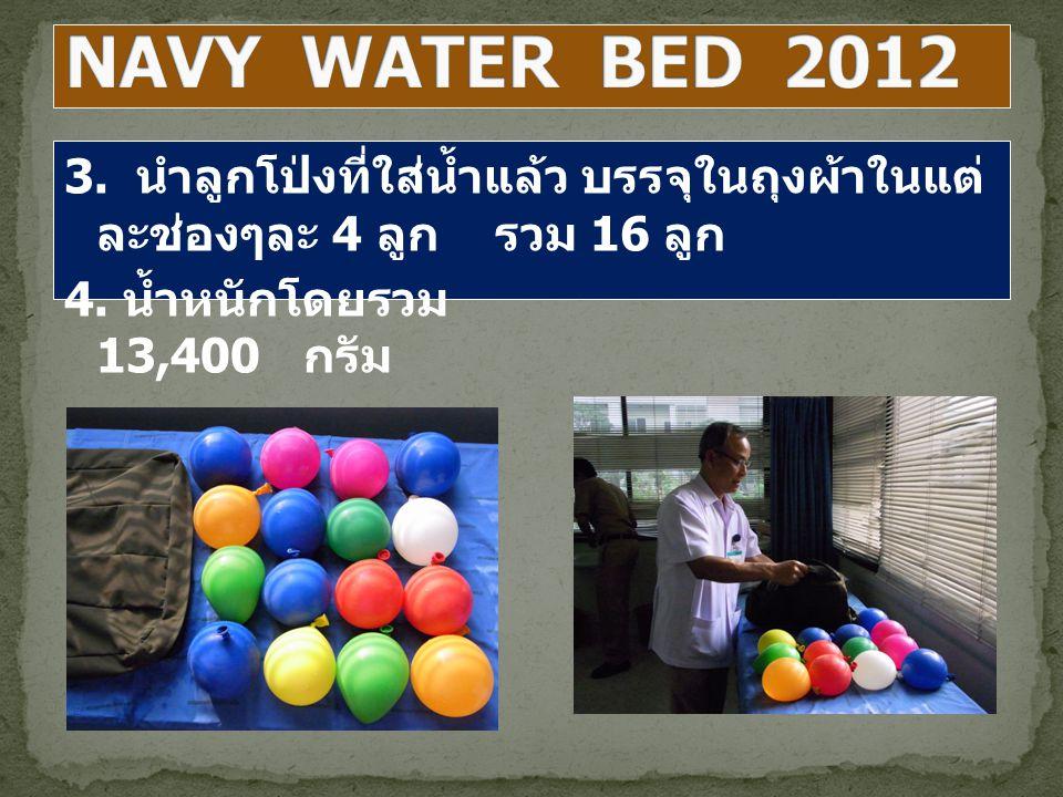 3. นำลูกโป่งที่ใส่น้ำแล้ว บรรจุในถุงผ้าในแต่ ละช่องๆละ 4 ลูก รวม 16 ลูก 4. น้ำหนักโดยรวม 13,400 กรัม