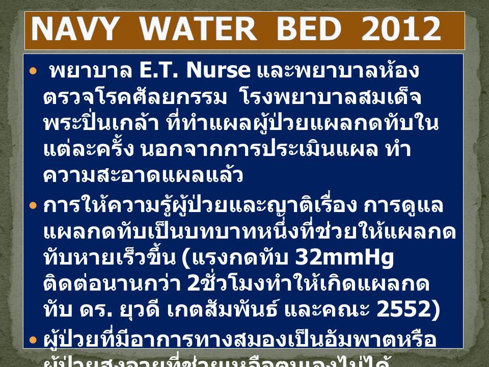 พยาบาล E.T. Nurse และพยาบาลห้อง ตรวจโรคศัลยกรรม โรงพยาบาลสมเด็จ พระปิ่นเกล้า ที่ทำแผลผู้ป่วยแผลกดทับใน แต่ละครั้ง นอกจากการประเมินแผล ทำ ความสะอาดแผลแ