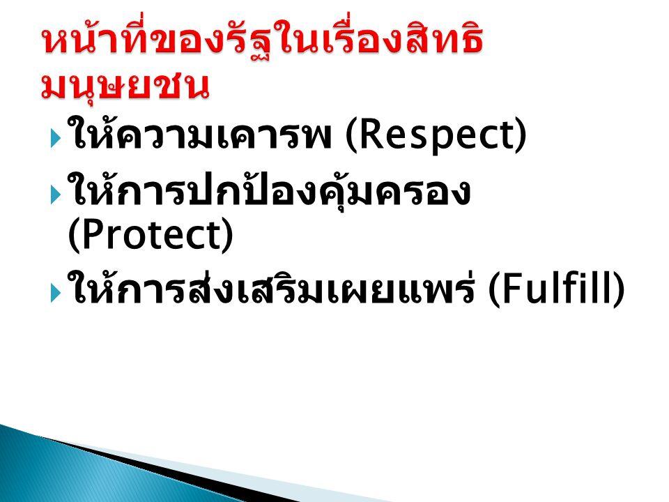  ให้ความเคารพ (Respect)  ให้การปกป้องคุ้มครอง (Protect)  ให้การส่งเสริมเผยแพร่ (Fulfill)