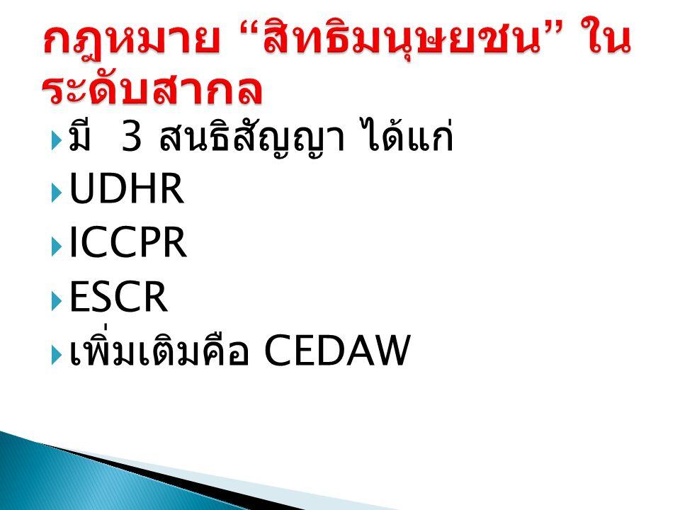  มี 3 สนธิสัญญา ได้แก่  UDHR  ICCPR  ESCR  เพิ่มเติมคือ CEDAW