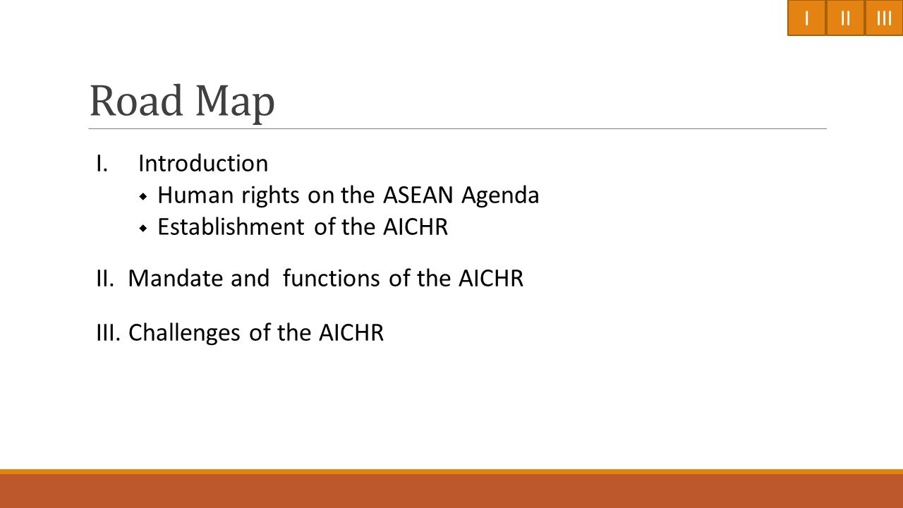 Establishment of the AICHR IIIIII 19902000 2010 1993 the World Conference on Human Rights; the Vienna Declaration and Programme of Action (VDPA) 2004 Adoption of Vientiane Action Programme 1997 Adoption of the Hanoi Plan of Action (HPA) 2008 Adoption of ASEAN Charter 2009 Adoption of the Roadmap for an ASEAN Community 2015 and the 3 ASEAN Community Blueprints 2009 Establishment of the AICHR at the 15th ASEAN Summit in Cha- Am Hua Hin, Thailand 2009 ToR of the AICHR 1993 the Joint Communiqué of the 26 th AMM