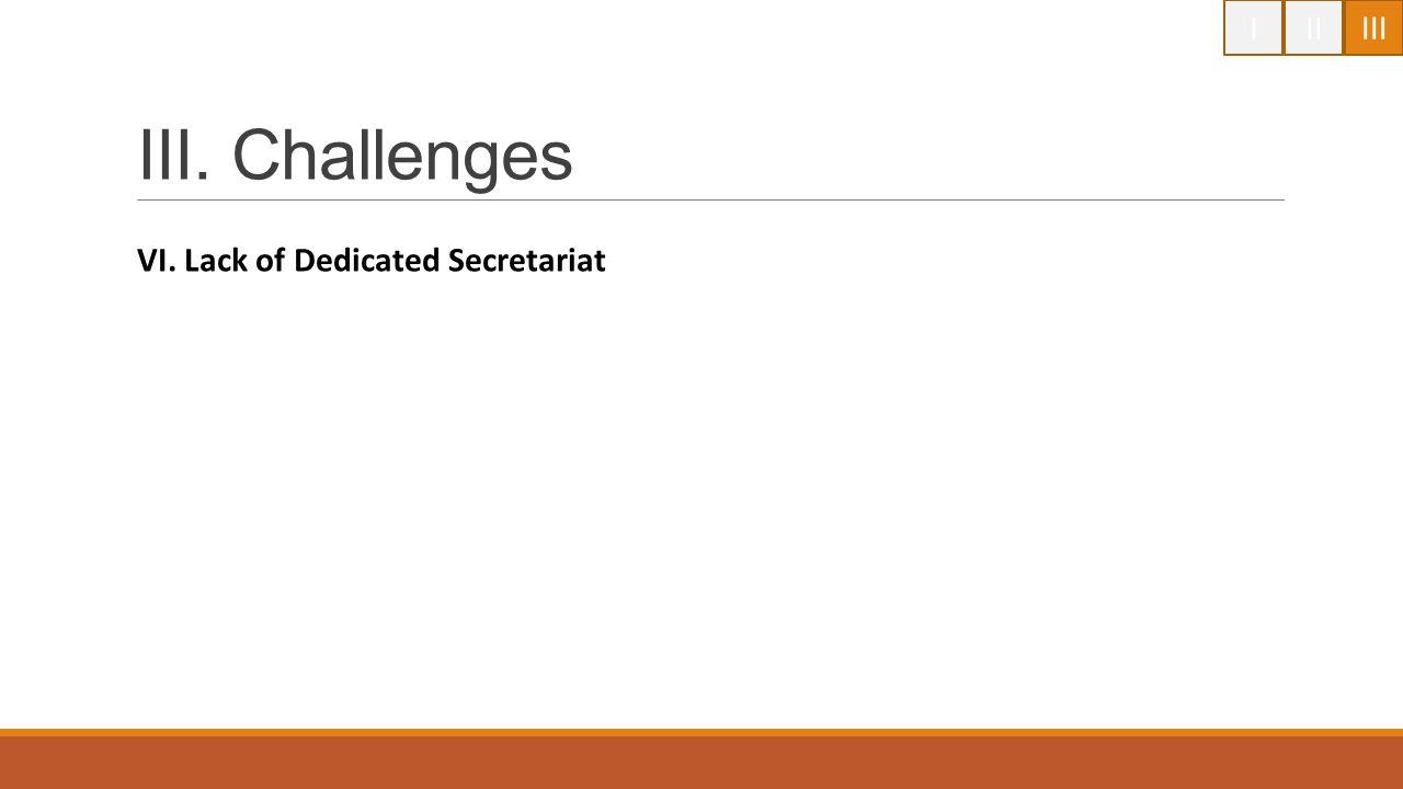 IIIIII III. Challenges VI. Lack of Dedicated Secretariat