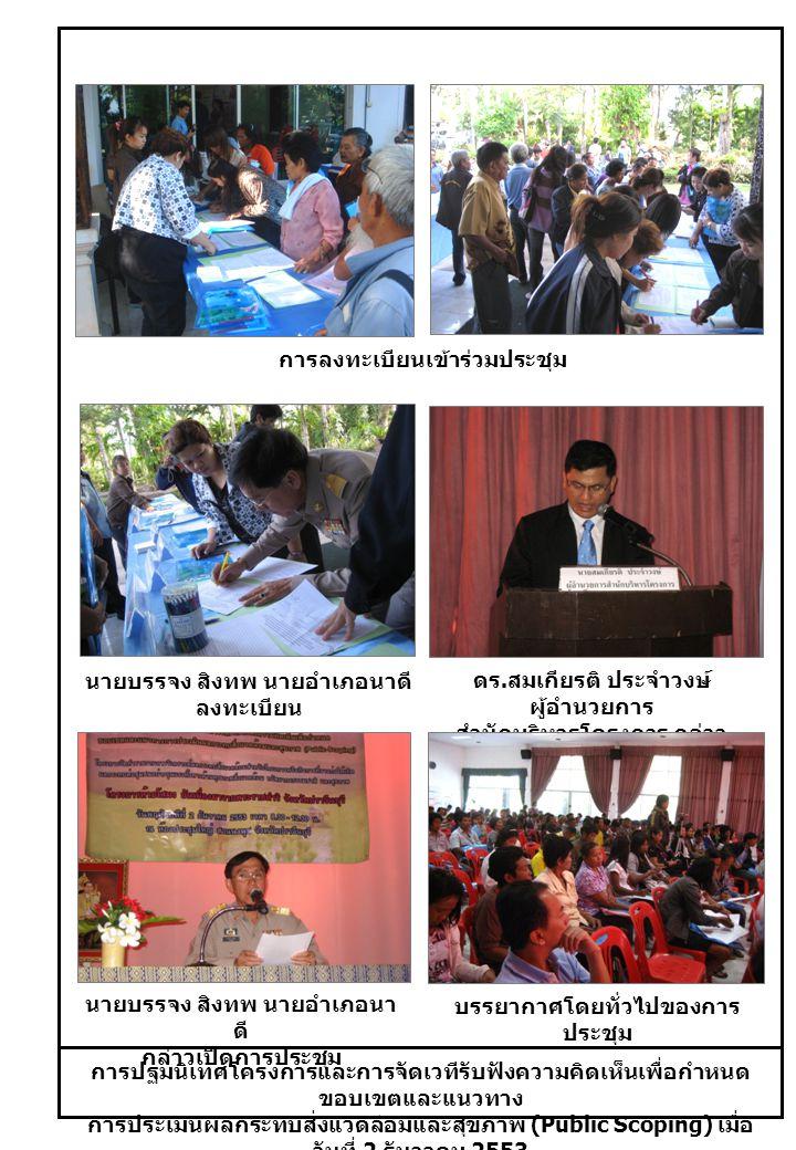 การปฐมนิเทศโครงการและการจัดเวทีรับฟังความคิดเห็นเพื่อกำหนด ขอบเขตและแนวทาง การประเมินผลกระทบสิ่งแวดล้อมและสุขภาพ (Public Scoping) เมื่อ วันที่ 2 ธันวาคม 2553 การลงทะเบียนเข้าร่วมประชุม นายบรรจง สิงทพ นายอำเภอนาดี ลงทะเบียน ดร.