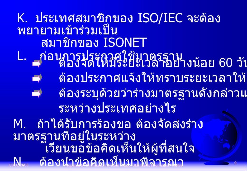 03/02/2005 Prepared by Information System Group, Standards Information Centre 9 K. ประเทศสมาชิกของ ISO/IEC จะต้อง พยายามเข้าร่วมเป็น สมาชิกของ ISONET
