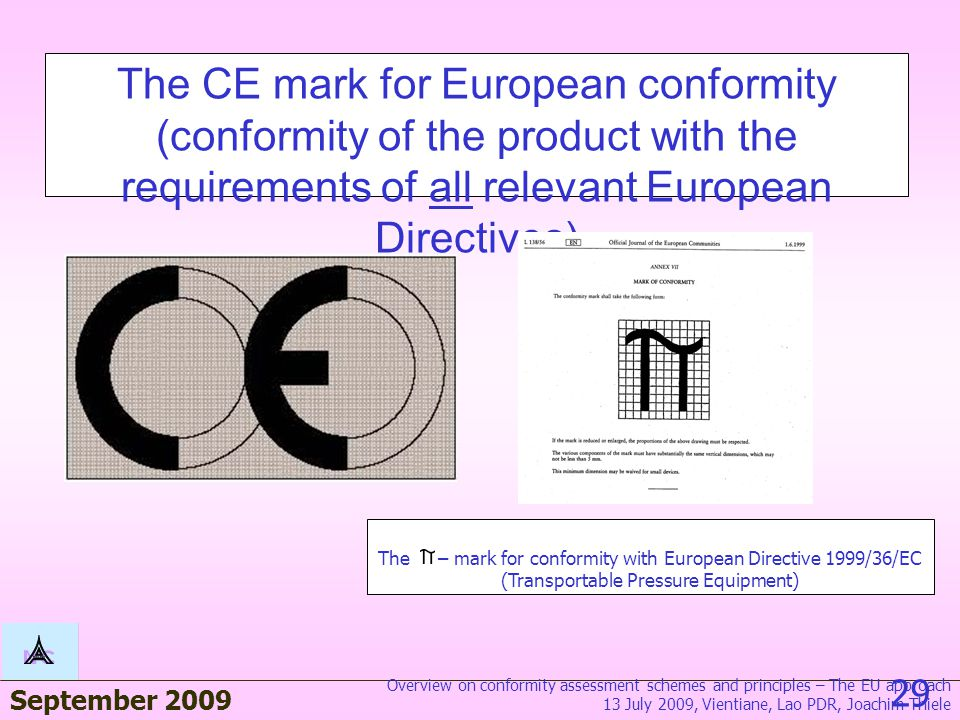 September 2009 28 BAM Quality assuranc e certificat e accordin g to Module D of the TPED directive 1999/36/E C The CE marking scheme 13 July 2009, Vie