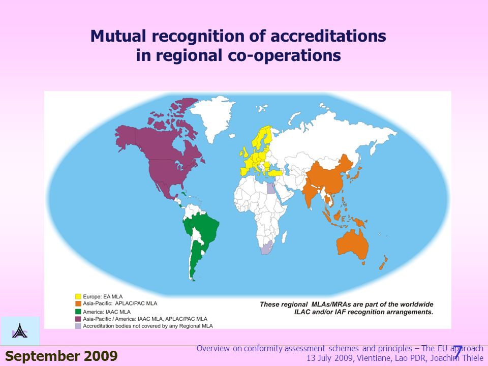 September 2009 7 Mutual recognition of accreditations in regional co-operations Overview on conformity assessment schemes and principles – The EU approach 13 July 2009, Vientiane, Lao PDR, Joachim Thiele