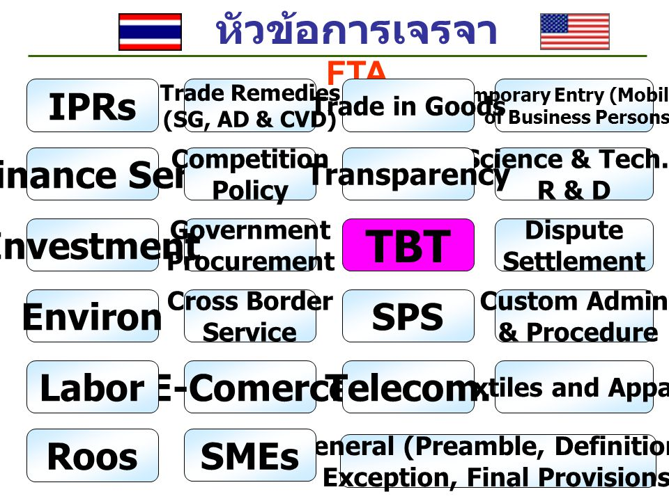 หัวข้อการเจรจา FTA Finance Serv Agriculture, Forestry and Fisheries Co-operation Cust Admin & Procedure Competition Policy Government Procurement Paperless Trading MRA IPRs Temporary Entry (Mobility) of Business Persons Dispute Settlement Roos Trade in Goods Trade in Services Investment SMEs Environ.