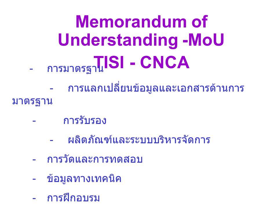 Memorandum of Understanding -MoU TISI - CNCA - การมาตรฐาน - การแลกเปลี่ยนข้อมูลและเอกสารด้านการ มาตรฐาน - การรับรอง - ผลิตภัณฑ์และระบบบริหารจัดการ - การวัดและการทดสอบ - ข้อมูลทางเทคนิค - การฝึกอบรม