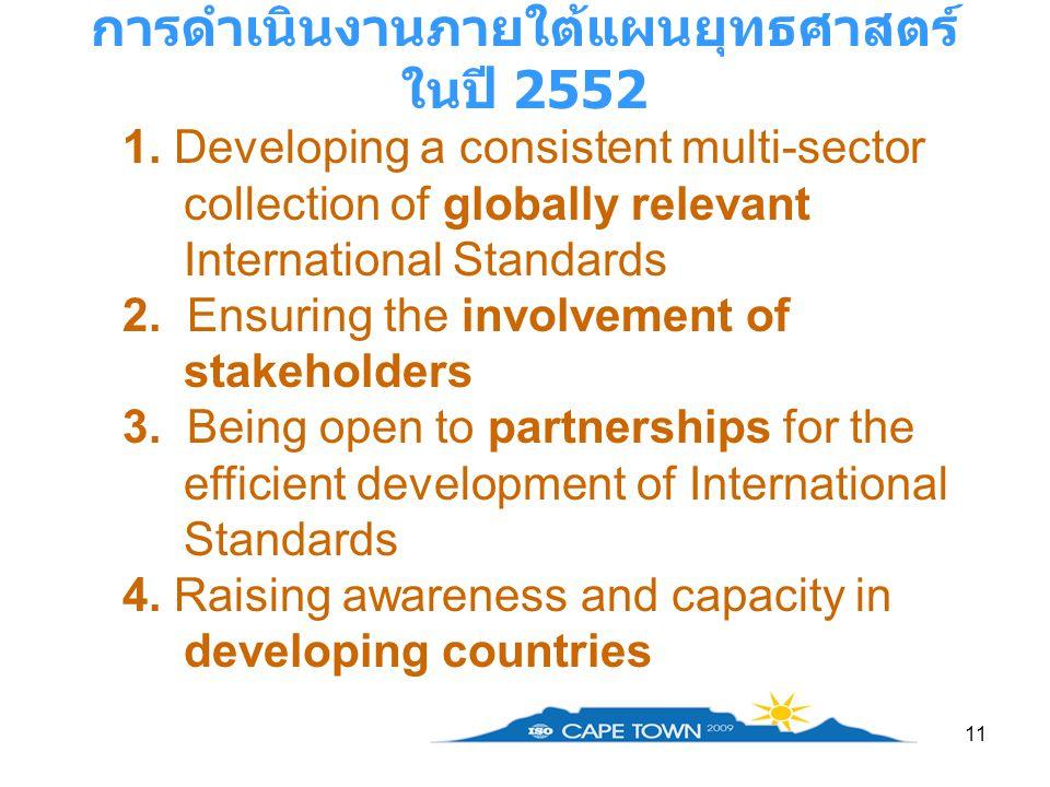 11 การดำเนินงานภายใต้แผนยุทธศาสตร์ ในปี 2552 1. Developing a consistent multi-sector collection of globally relevant International Standards 2. Ensuri