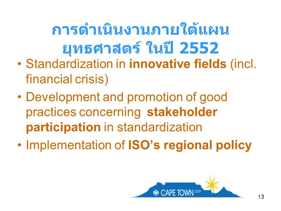 13 การดำเนินงานภายใต้แผน ยุทธศาสตร์ ในปี 2552 Standardization in innovative fields (incl. financial crisis) Development and promotion of good practice