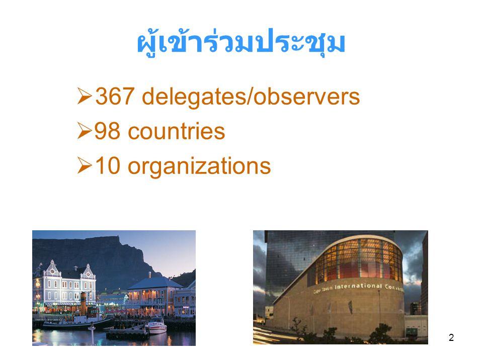 2 ผู้เข้าร่วมประชุม  367 delegates/observers  98 countries  10 organizations