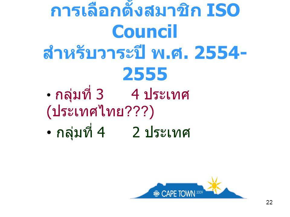 22 การเลือกตั้งสมาชิก ISO Council สำหรับวาระปี พ. ศ. 2554- 2555 กลุ่มที่ 3 4 ประเทศ ( ประเทศไทย ???) กลุ่มที่ 4 2 ประเทศ