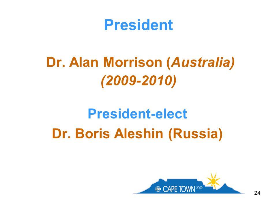 24 President Dr. Alan Morrison (Australia) (2009-2010) President-elect Dr. Boris Aleshin (Russia)