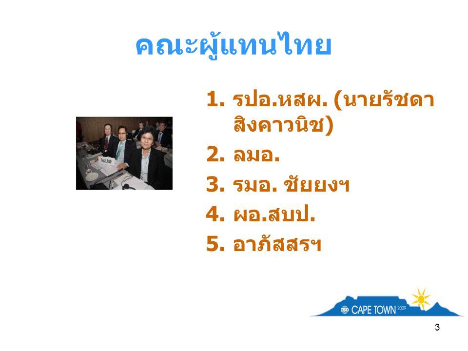 3 คณะผู้แทนไทย 1. รปอ. หสผ. ( นายรัชดา สิงคาวนิช ) 2. ลมอ. 3. รมอ. ชัยยงฯ 4. ผอ. สบป. 5. อาภัสสรฯ
