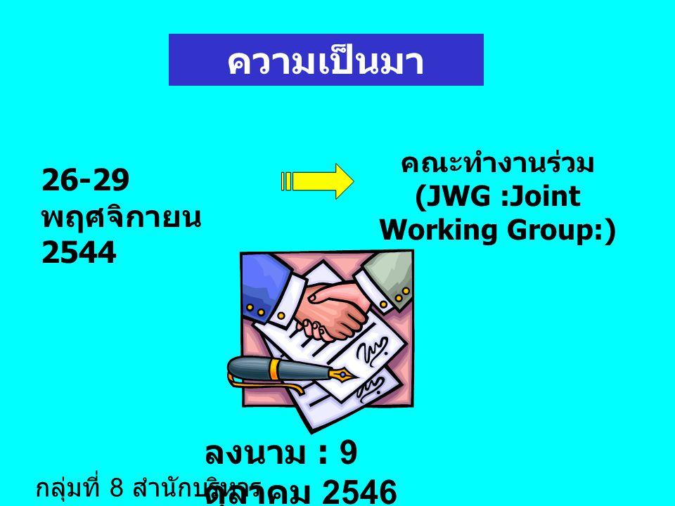 ความเป็นมา ลงนาม : 9 ตุลาคม 2546 26-29 พฤศจิกายน 2544 คณะทำงานร่วม (JWG :Joint Working Group:) กลุ่มที่ 8 สำนักบริหาร มาตรฐาน 1