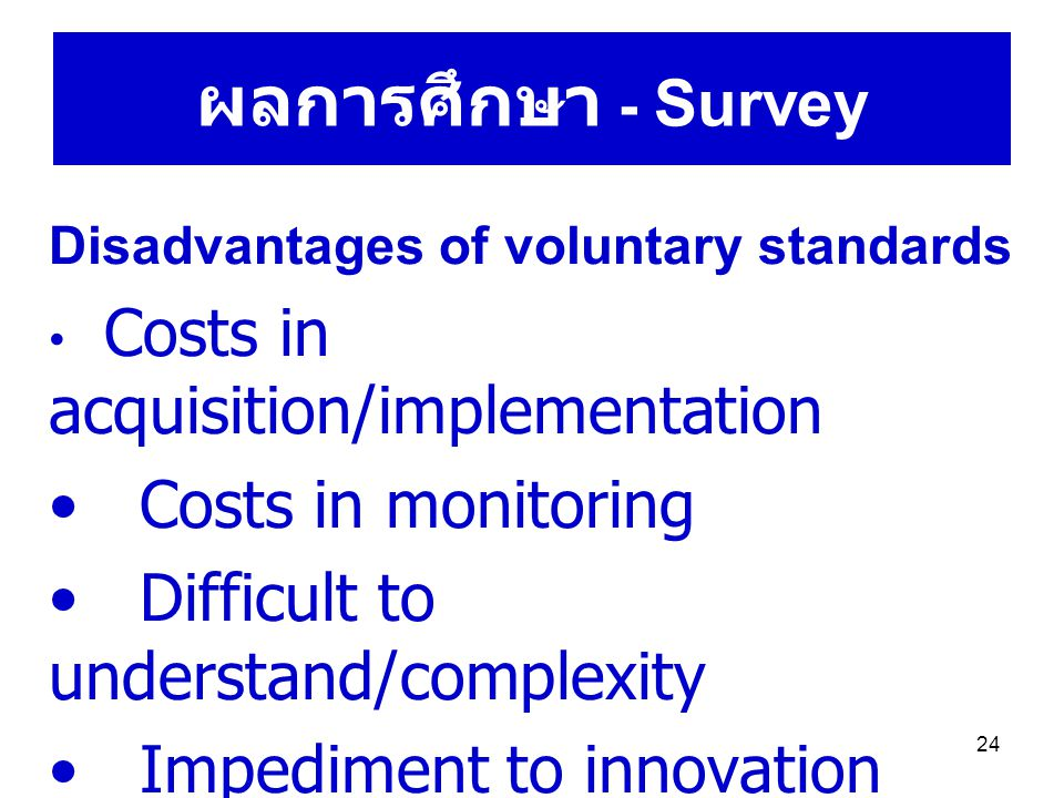 24 ผลการศึกษา - Survey Disadvantages of voluntary standards Costs in acquisition/implementation Costs in monitoring Difficult to understand/complexity Impediment to innovation