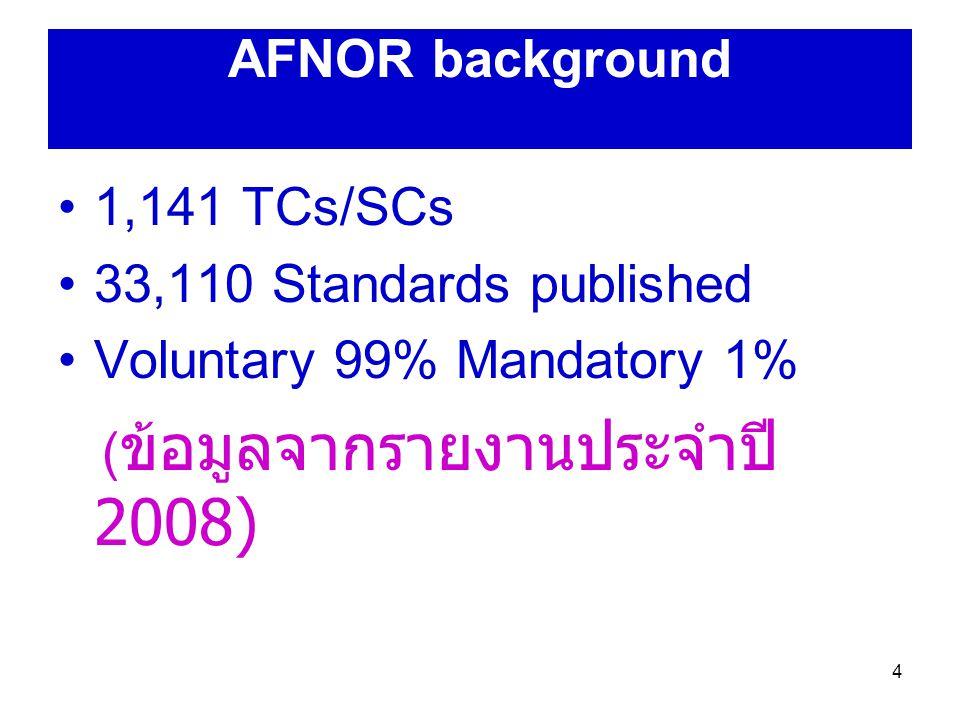 5 วัตถุประสงค์ ใช้เป็นข้อมูลสำหรับ standardization 2010 strategy เพื่อศึกษาผลกระทบของ voluntary standards ที่มีต่อ เศรษฐกิจ