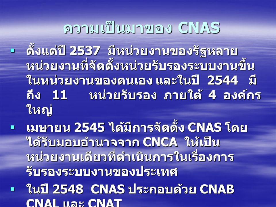 ความเป็นมาของ CNAS  ตั้งแต่ปี 2537 มีหน่วยงานของรัฐหลาย หน่วยงานที่จัดตั้งหน่วยรับรองระบบงานขึ้น ในหน่วยงานของตนเอง และในปี 2544 มี ถึง 11 หน่วยรับรอ