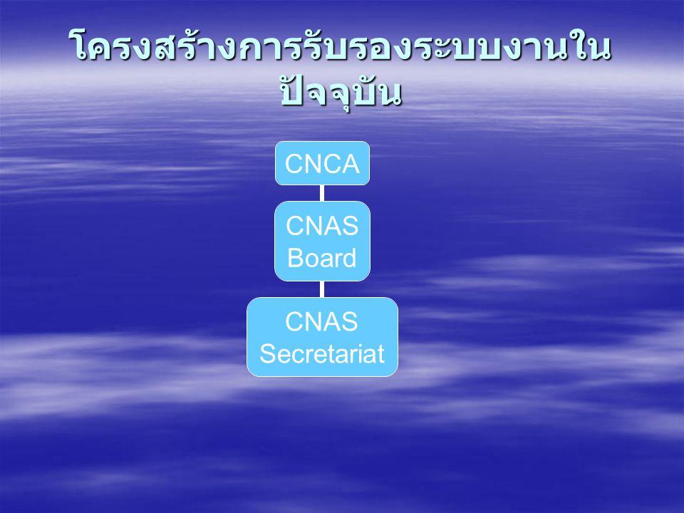 โครงสร้างการรับรองระบบงานใน ปัจจุบัน CNCA CNAS Board CNAS Secretariat