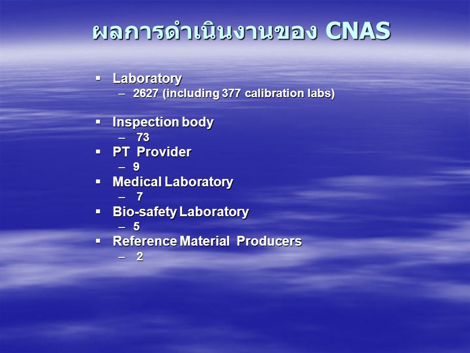 ผลการดำเนินงานของ CNAS  Laboratory –2627 (including 377 calibration labs)  Inspection body – 73  PT Provider –9  Medical Laboratory – 7  Bio-safe