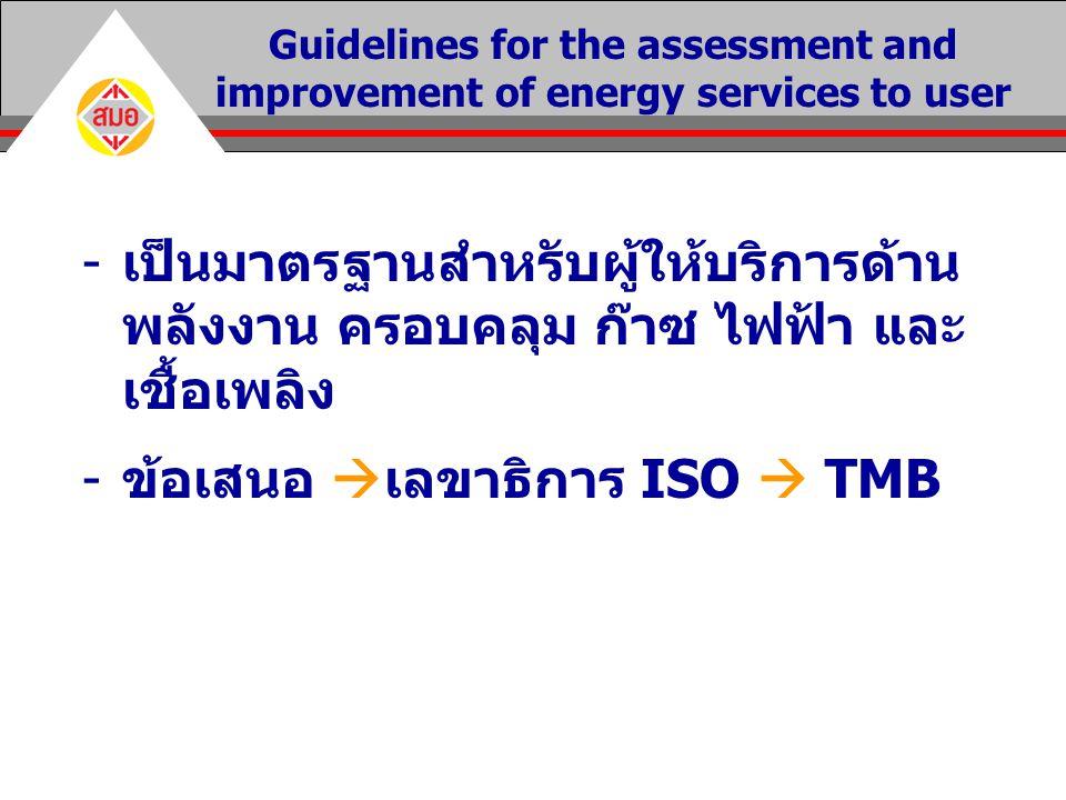 -เป็นมาตรฐานสำหรับผู้ให้บริการด้าน พลังงาน ครอบคลุม ก๊าซ ไฟฟ้า และ เชื้อเพลิง -ข้อเสนอ  เลขาธิการ ISO  TMB Guidelines for the assessment and improvement of energy services to user