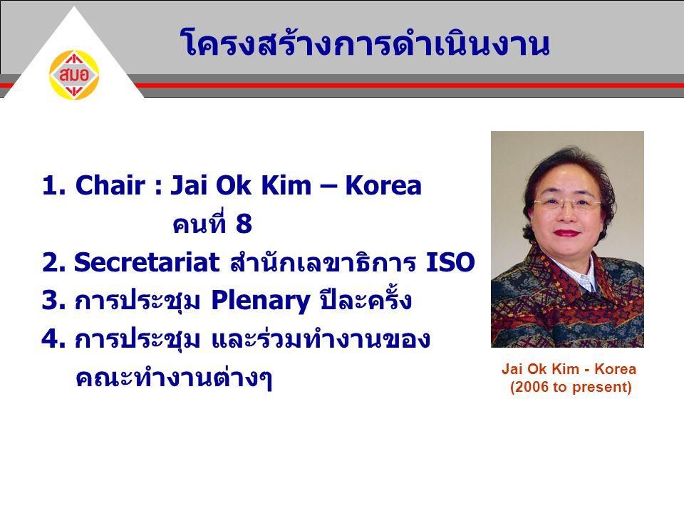 1.Chair : Jai Ok Kim – Korea คนที่ 8 2. Secretariat สำนักเลขาธิการ ISO 3. การประชุม Plenary ปีละครั้ง 4. การประชุม และร่วมทำงานของ คณะทำงานต่างๆ โครงส