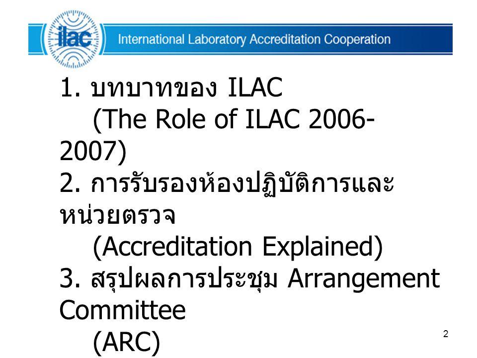 2 หัวข้อการนำเสนอ 1. บทบาทของ ILAC (The Role of ILAC 2006- 2007) 2. การรับรองห้องปฏิบัติการและ หน่วยตรวจ (Accreditation Explained) 3. สรุปผลการประชุม
