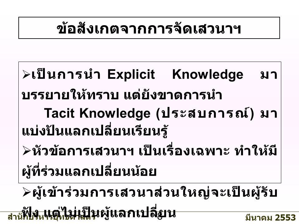 สำนักบริหารยุทธศาสตร์ มีนาคม 2553 8 ข้อสังเกตจากการจัดเสวนาฯ  เป็นการนำ Explicit Knowledge มา บรรยายให้ทราบ แต่ยังขาดการนำ Tacit Knowledge ( ประสบการณ์ ) มา แบ่งปันแลกเปลี่ยนเรียนรู้  หัวข้อการเสวนาฯ เป็นเรื่องเฉพาะ ทำให้มี ผู้ที่ร่วมแลกเปลี่ยนน้อย  ผู้เข้าร่วมการเสวนาส่วนใหญ่จะเป็นผู้รับ ฟัง แต่ไม่เป็นผู้แลกเปลี่ยน แบ่งปันความรู้  ควรมีการจัดสรรรางวัลเพื่อสร้างแรงจูงใจ ในการร่วมกิจกรรมเสวนาฯ