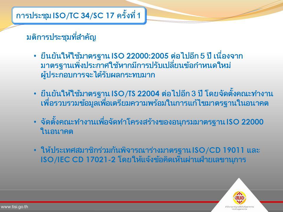 การประชุม ISO/TC 34/SC 17 ครั้งที่ 1 มติการประชุมที่สำคัญ ยืนยันให้ใช้มาตรฐาน ISO 22000:2005 ต่อไปอีก 5 ปี เนื่องจาก มาตรฐานเพิ่งประกาศใช้หากมีการปรับเปลี่ยนข้อกำหนดใหม่ ผู้ประกอบการจะได้รับผลกระทบมาก ยืนยันให้ใช้มาตรฐาน ISO/TS 22004 ต่อไปอีก 3 ปี โดยจัดตั้งคณะทำงาน เพื่อรวบรวมข้อมูลเพื่อเตรียมความพร้อมในการแก้ไขมาตรฐานในอนาคต จัดตั้งคณะทำงานเพื่อจัดทำโครงสร้างของอนุกรมมาตรฐาน ISO 22000 ในอนาคต ให้ประเทศสมาชิกร่วมกันพิจารณาร่างมาตรฐาน ISO/CD 19011 และ ISO/IEC CD 17021-2 โดยให้แจ้งข้อคิดเห็นผ่านฝ่ายเลขานุการ