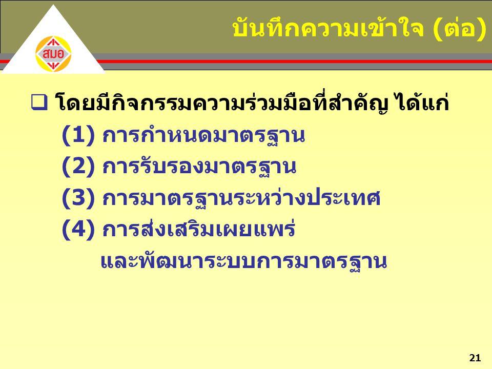 21 บันทึกความเข้าใจ (ต่อ)  โดยมีกิจกรรมความร่วมมือที่สำคัญ ได้แก่ (1) การกำหนดมาตรฐาน (2) การรับรองมาตรฐาน (3) การมาตรฐานระหว่างประเทศ (4) การส่งเสริ