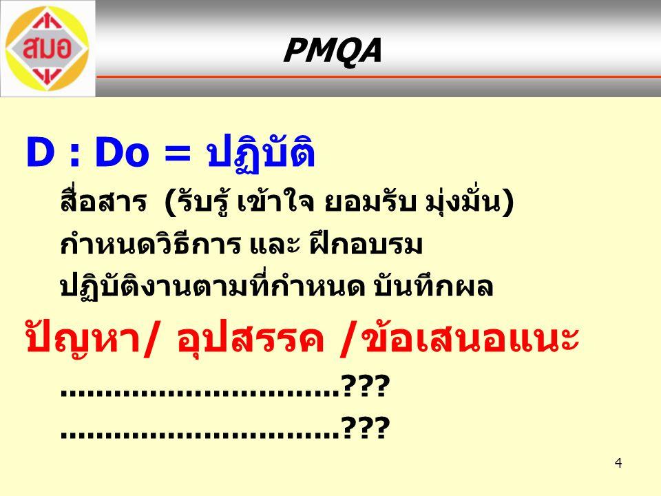 4 PMQA D : Do = ปฏิบัติ สื่อสาร (รับรู้ เข้าใจ ยอมรับ มุ่งมั่น) กำหนดวิธีการ และ ฝึกอบรม ปฏิบัติงานตามที่กำหนด บันทึกผล ปัญหา/ อุปสรรค /ข้อเสนอแนะ....