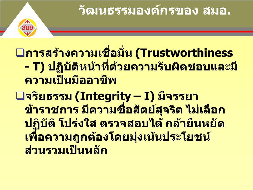 วัฒนธรรมองค์กรของ สมอ.  การสร้างความเชื่อมั่น (Trustworthiness - T) ปฏิบัติหน้าที่ด้วยความรับผิดชอบและมี ความเป็นมืออาชีพ  จริยธรรม (Integrity – I)