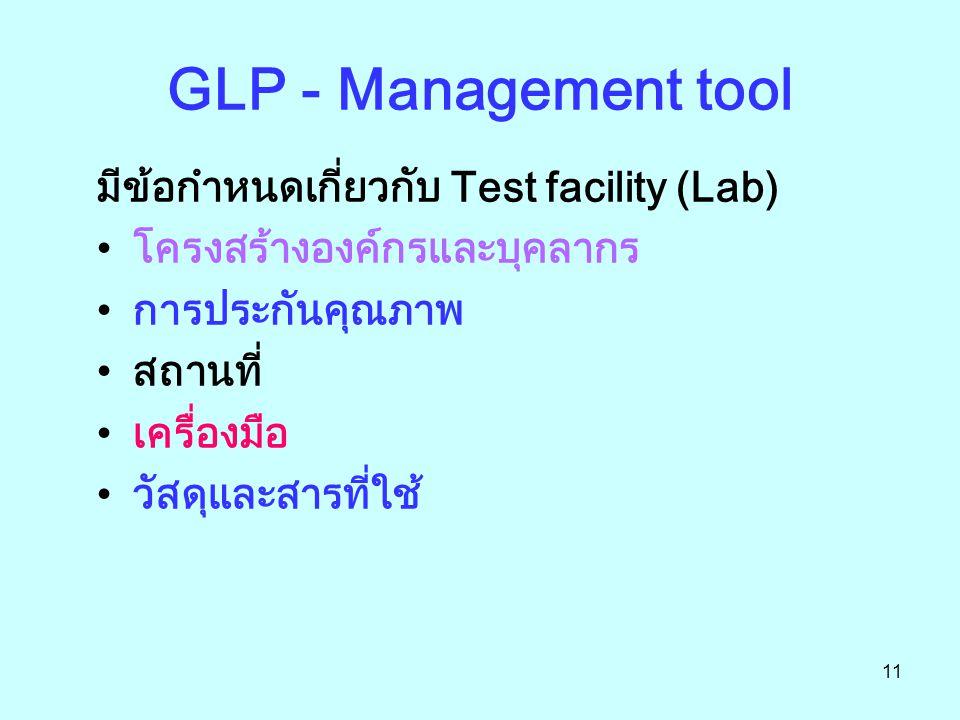 11 GLP - Management tool มีข้อกำหนดเกี่ยวกับ Test facility (Lab) โครงสร้างองค์กรและบุคลากร การประกันคุณภาพ สถานที่ เครื่องมือ วัสดุและสารที่ใช้