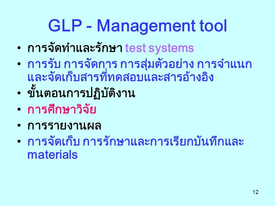 12 GLP - Management tool การจัดทำและรักษา test systems การรับ การจัดการ การสุ่มตัวอย่าง การจำแนก และจัดเก็บสารที่ทดสอบและสารอ้างอิง ขั้นตอนการปฏิบัติงาน การศึกษาวิจัย การรายงานผล การจัดเก็บ การรักษาและการเรียกบันทึกและ materials
