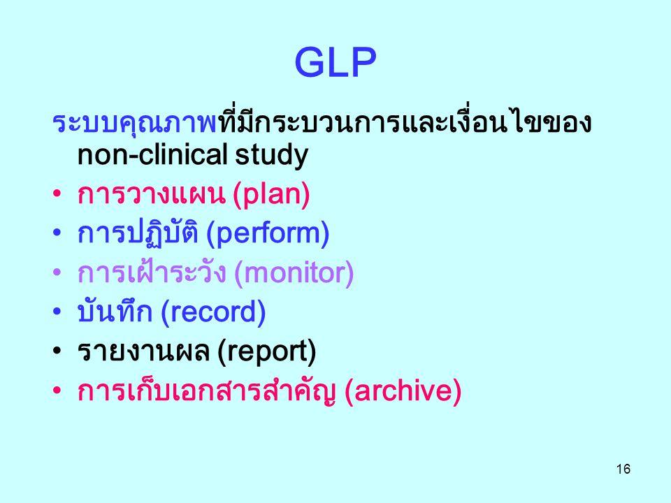 16 GLP ระบบคุณภาพที่มีกระบวนการและเงื่อนไขของ non-clinical study การวางแผน (plan) การปฏิบัติ (perform) การเฝ้าระวัง (monitor) บันทึก (record) รายงานผล (report) การเก็บเอกสารสำคัญ (archive)