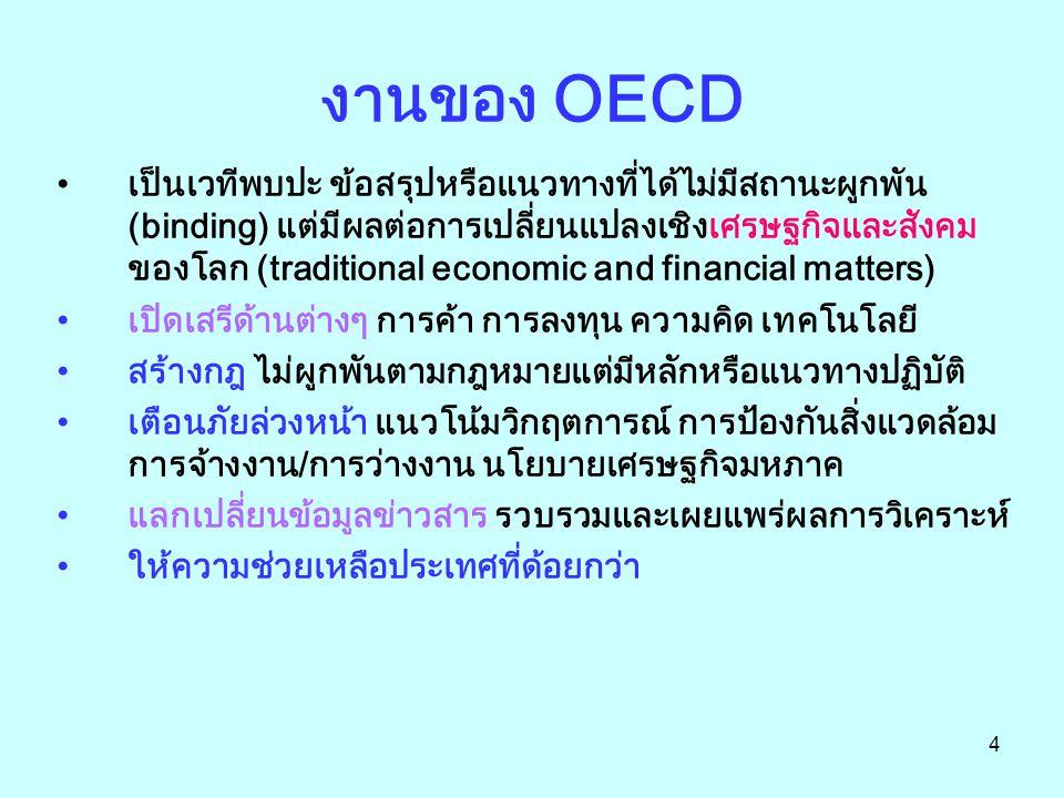 4 งานของ OECD เป็นเวทีพบปะ ข้อสรุปหรือแนวทางที่ได้ไม่มีสถานะผูกพัน (binding) แต่มีผลต่อการเปลี่ยนแปลงเชิงเศรษฐกิจและสังคม ของโลก (traditional economic and financial matters) เปิดเสรีด้านต่างๆ การค้า การลงทุน ความคิด เทคโนโลยี สร้างกฎ ไม่ผูกพันตามกฎหมายแต่มีหลักหรือแนวทางปฏิบัติ เตือนภัยล่วงหน้า แนวโน้มวิกฤตการณ์ การป้องกันสิ่งแวดล้อม การจ้างงาน/การว่างงาน นโยบายเศรษฐกิจมหภาค แลกเปลี่ยนข้อมูลข่าวสาร รวบรวมและเผยแพร่ผลการวิเคราะห์ ให้ความช่วยเหลือประเทศที่ด้อยกว่า